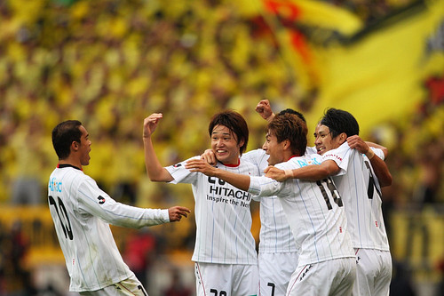 Reysol Players Celebrate Winning J.League