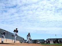Japanese Baseball Players Warming up for MLB 2012 Season