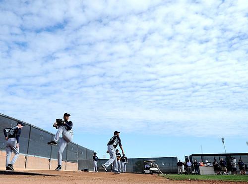 Japanese Baseball Players Warming up for MLB 2012 Season