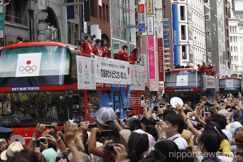London Olympics Japanese Medalists Parade in Ginza