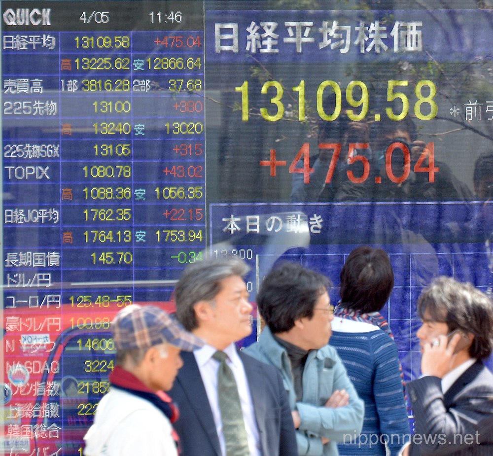 Tokyo Stock Exchange market session on Friday, April 5, 2013
