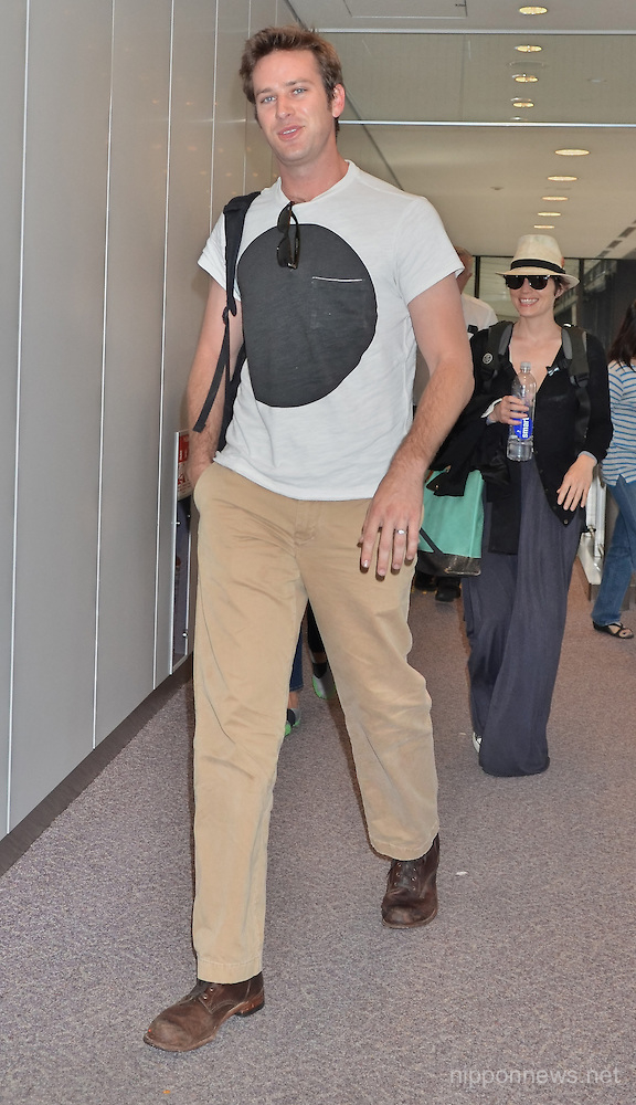 Actor Armie Hammer arrives in Japan
