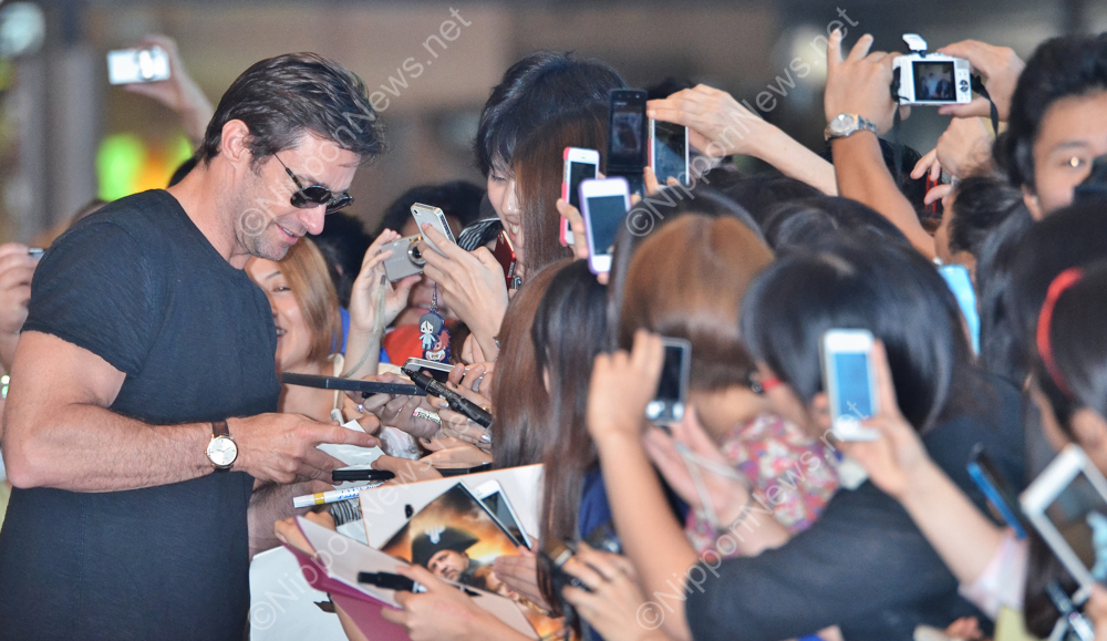 Hugh Jackman arrives in Japan
