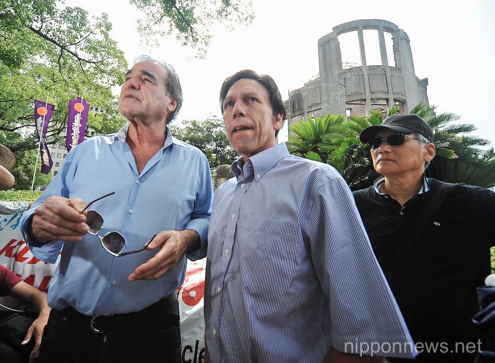 Oliver Stone and Peter Kuznick visit Hiroshima Atomic Bomb Dome and Peace Memorial Park