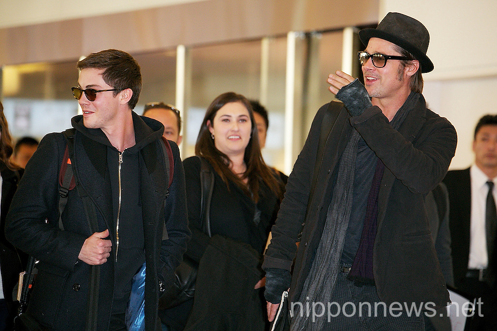 Brad Pitt and Logan Lerman Arrive to Japan