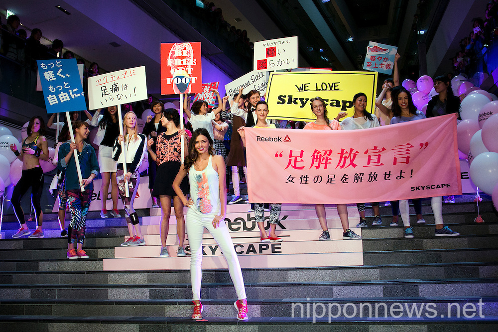 Miranda Kerr Promotes Reebok Skyscape in Tokyo