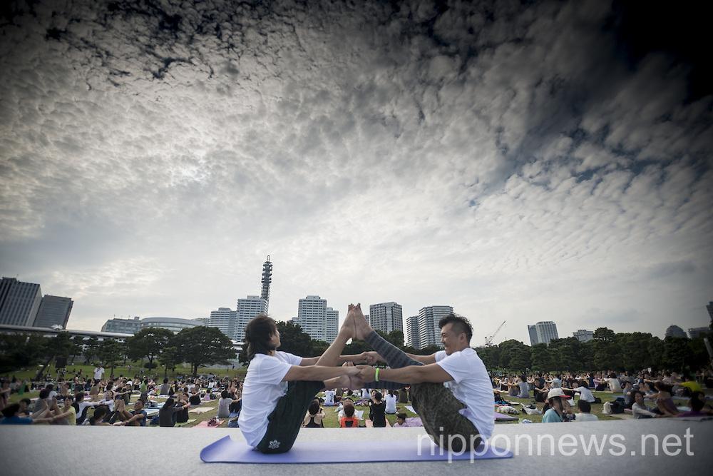 Yoga festival at Rinkai Park in Yokohama