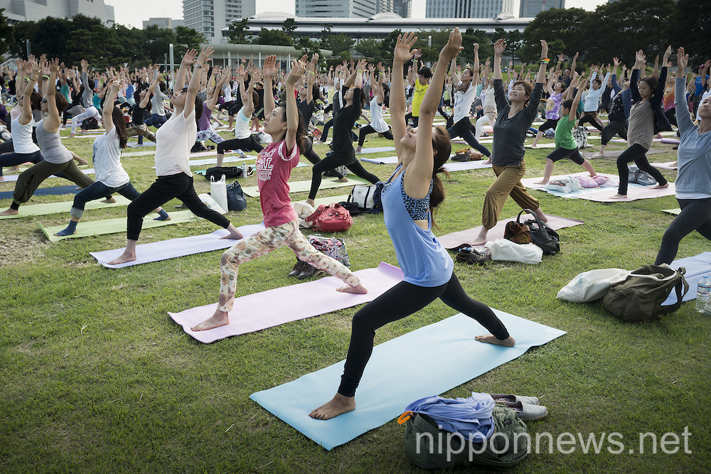 Yoga festival at Rinkai Park in Yokohama