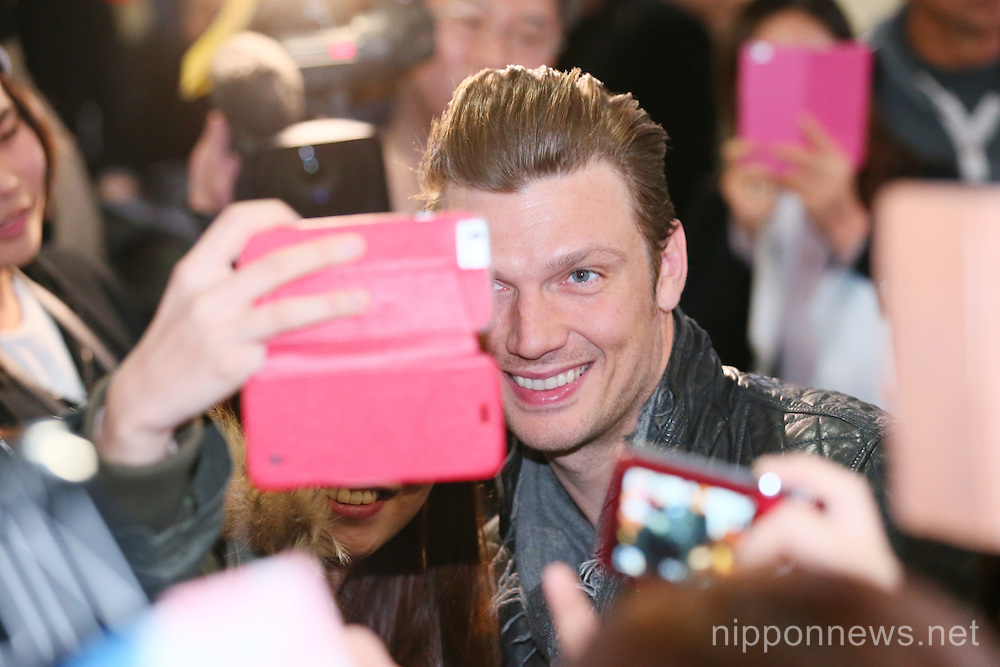 Nick Carter of the Backstreet Boys arrives in Japan