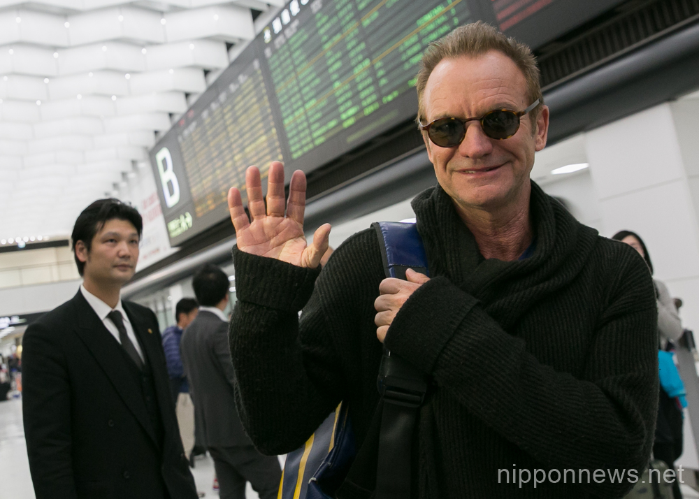 British singer-songwriter Sting arrives in Japan