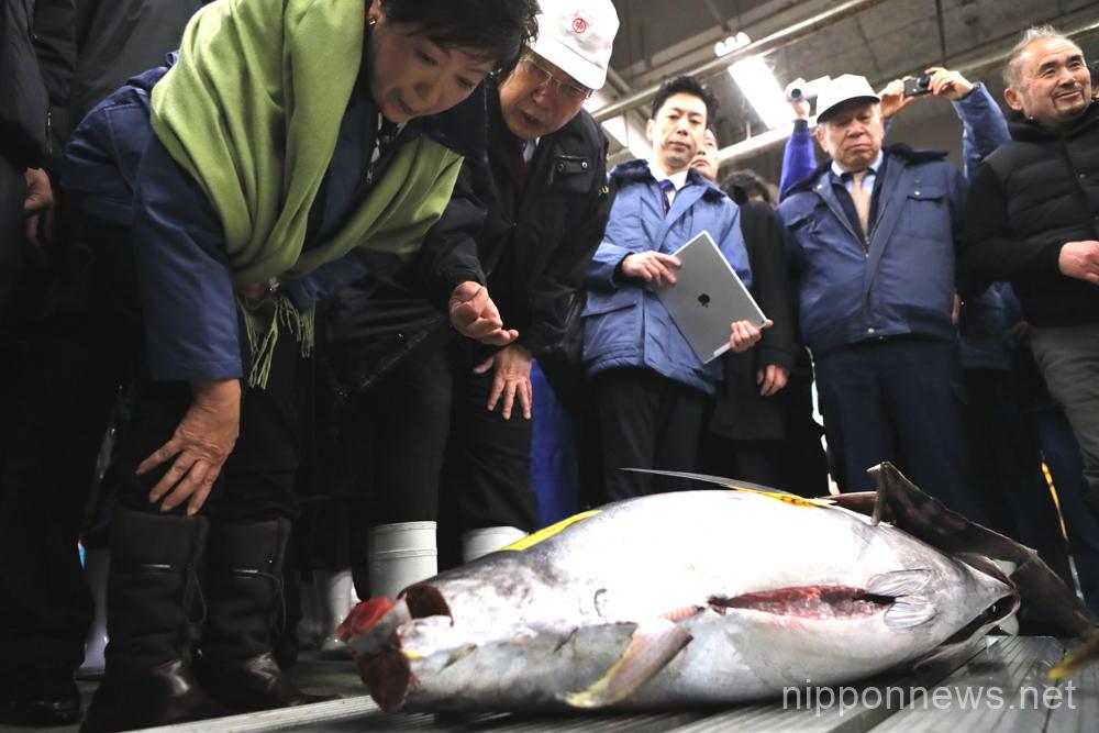 Tokyo Governor Koike Visits Tsukiji Fish Market
