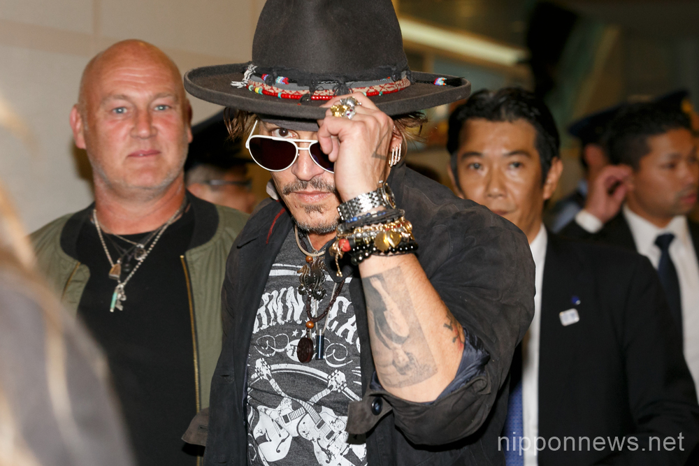 Johnny Depp arrives at Tokyo International Airport