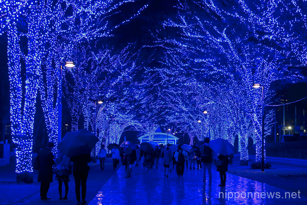 christmas illuminations decorate various parts of tokyo during this festive season in japan above shibuya blue grotto thousands of blue led lights turn