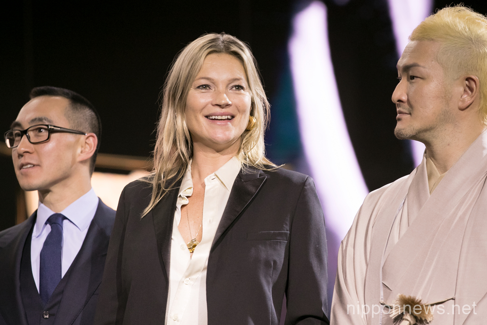 Model Kate Moss attends the opening ceremony for KIMONO ROBOTO exhibition