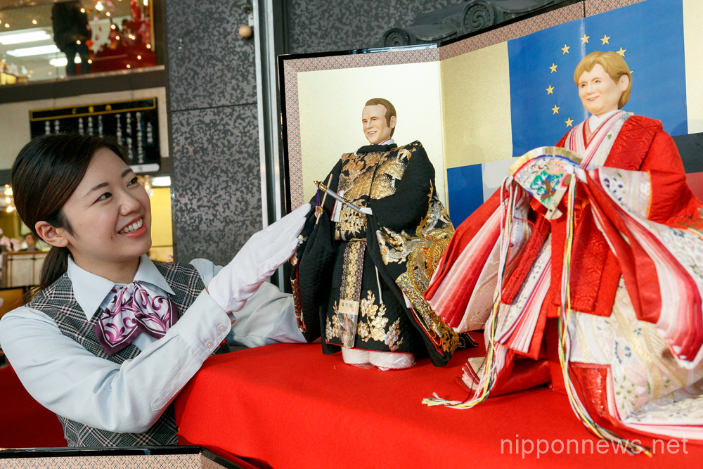 Hina dolls modeled after leaders and athletes