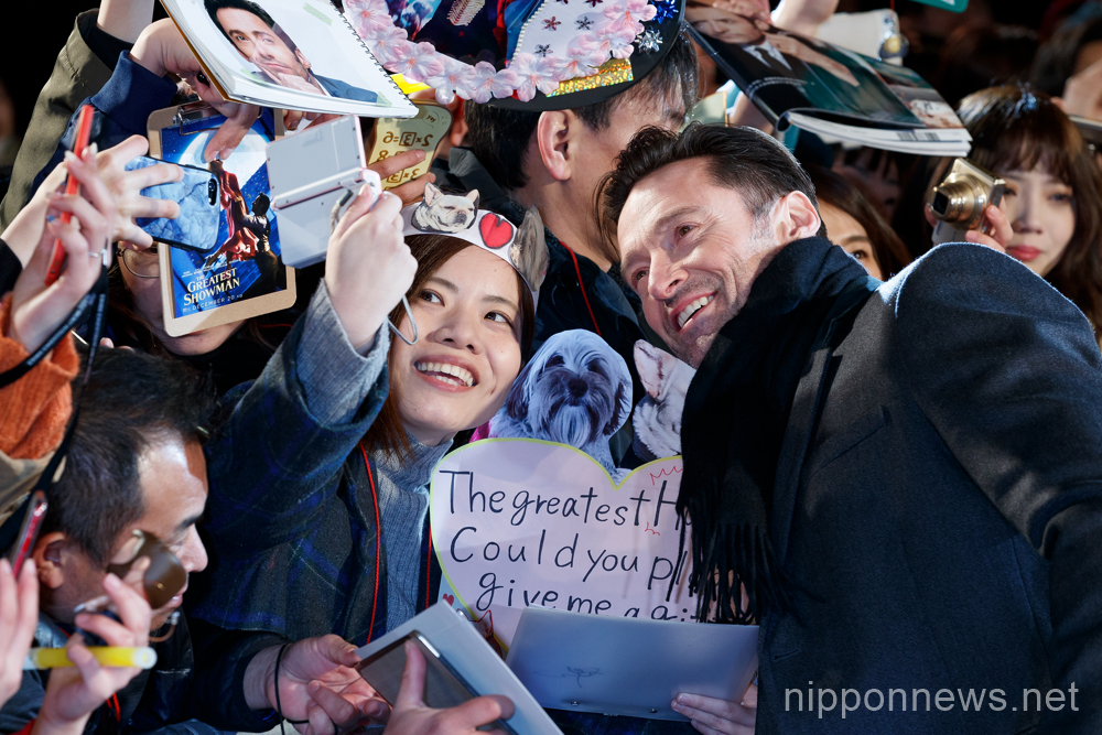 "Hugh Jackman attends ""The Greatest Showman"" red carpet in Tokyo"