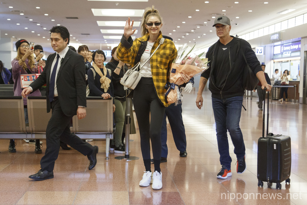 Gigi Hadid arrives in Japan