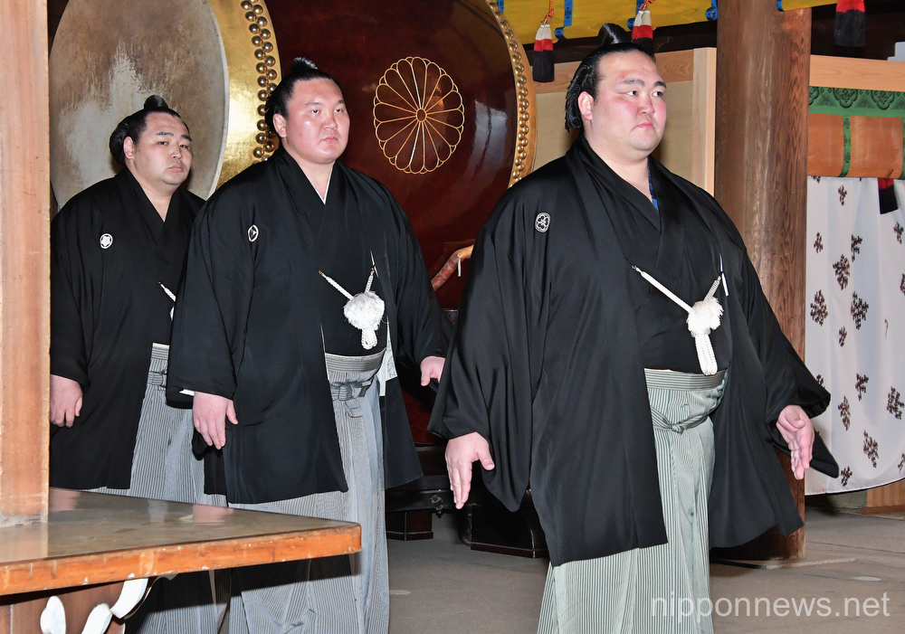 Kisenosato attends sumo ring-entering ceremony at Meiji Shrine