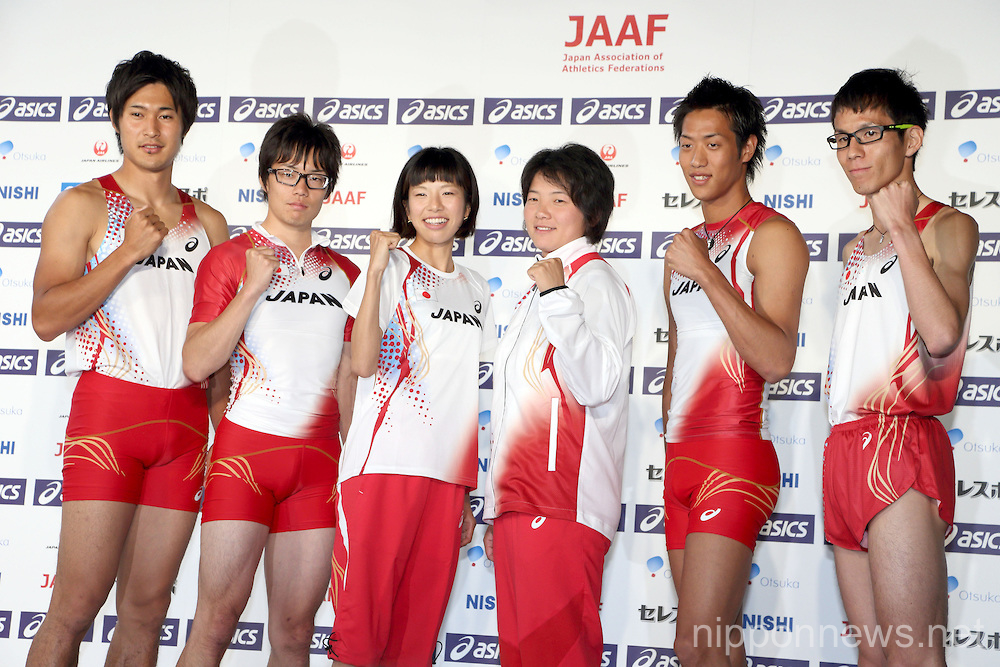 Athletics: Japan National Team Press Conference for the IAAF World Championships 2013 Moscow