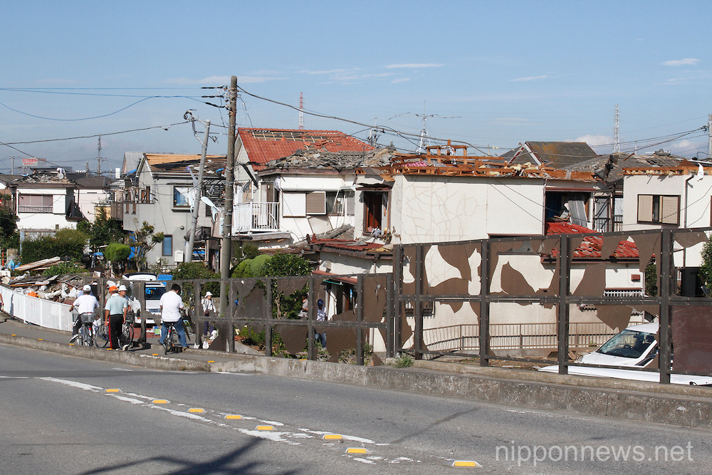 Houses in Saitama after the tornado that struck on September 3 2013