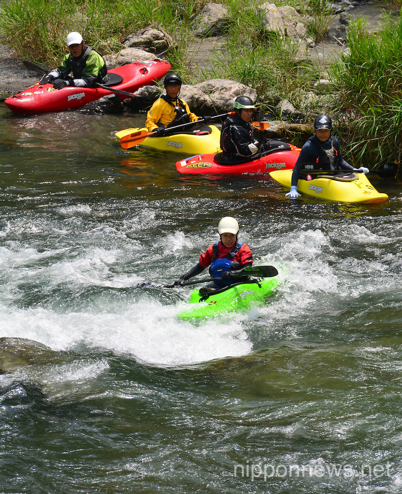 Japanese Enjoy River Recreation in the Summer