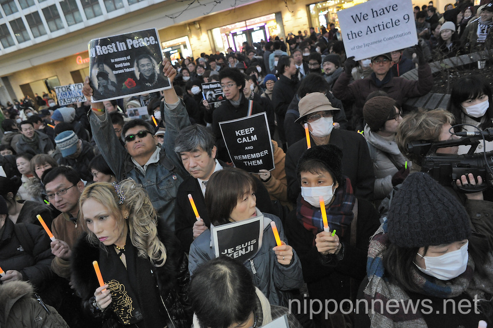 Candle vigil in Shibuya for Japanese taken hostages by ISIS