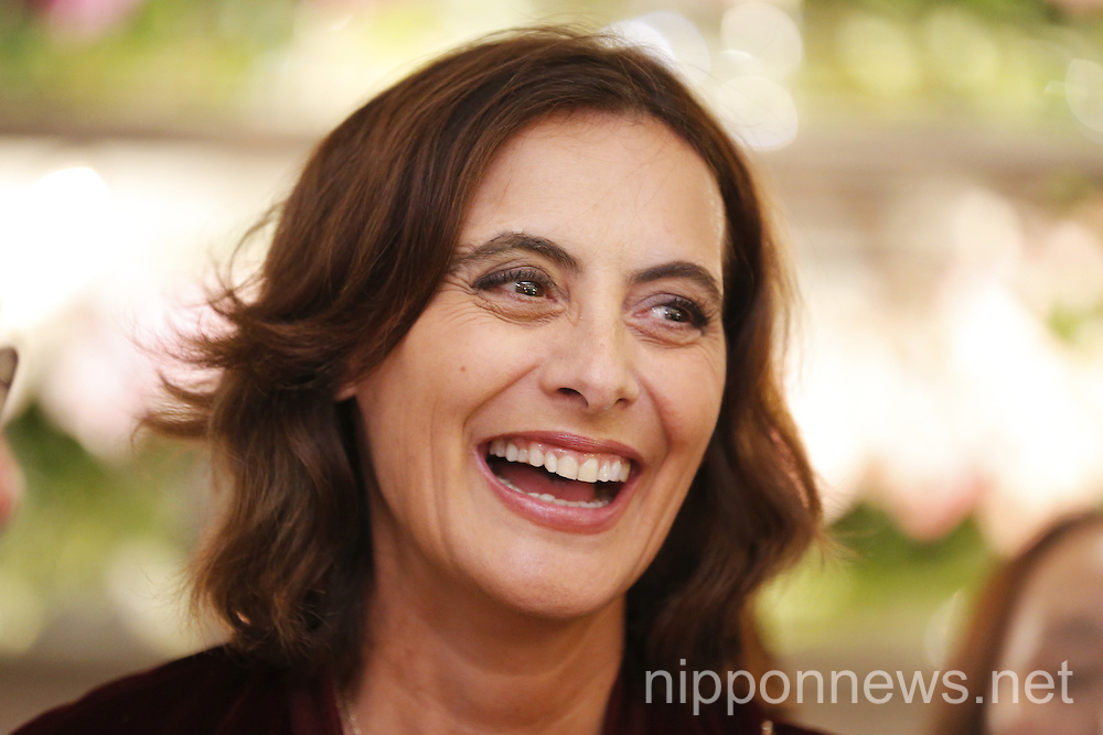 Ines de la Fressange attends the launch party of her new collection for Uniqlo