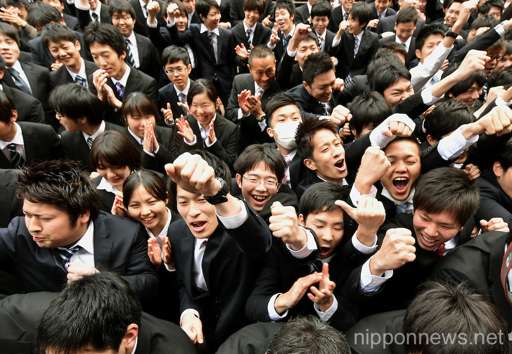 College students attend a pep rally prior to their long job hunting season