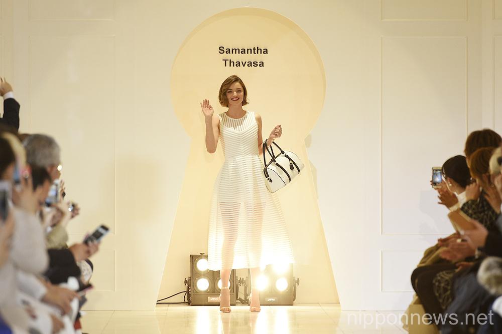 Miranda Kerr attends a photo call for the Isetan X Samantha Thavasa DREAM Fashion Show