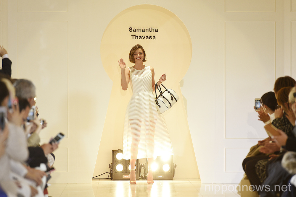 Miranda Kerr attends a photo call for the Isetan X Samantha Thavasa DREAM Fashion Show
