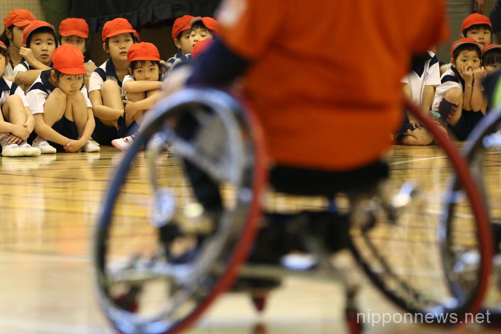 JPC demonstrates Wheelchair Basketball to Tokyo schoolchildren