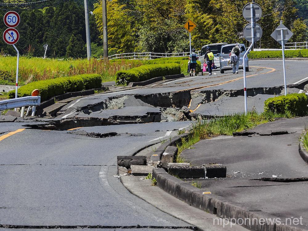 Kumamoto earthquake aftermath in Nishihara village