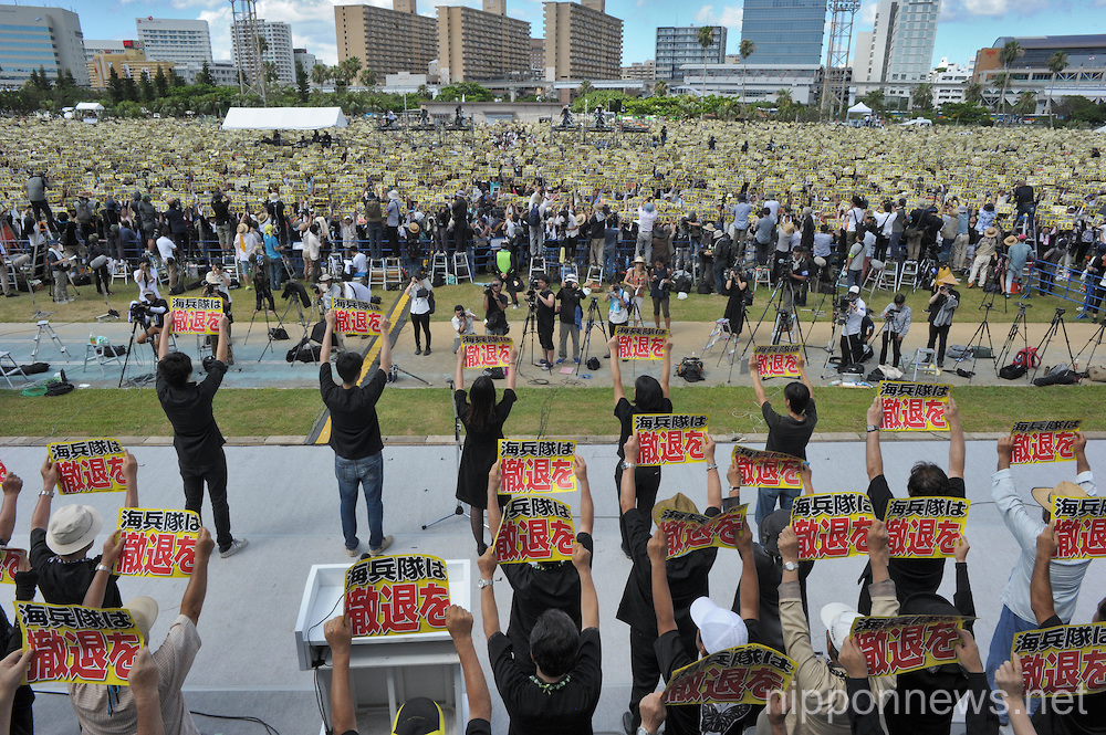 Massive protest in Okinawa opposing US military bases