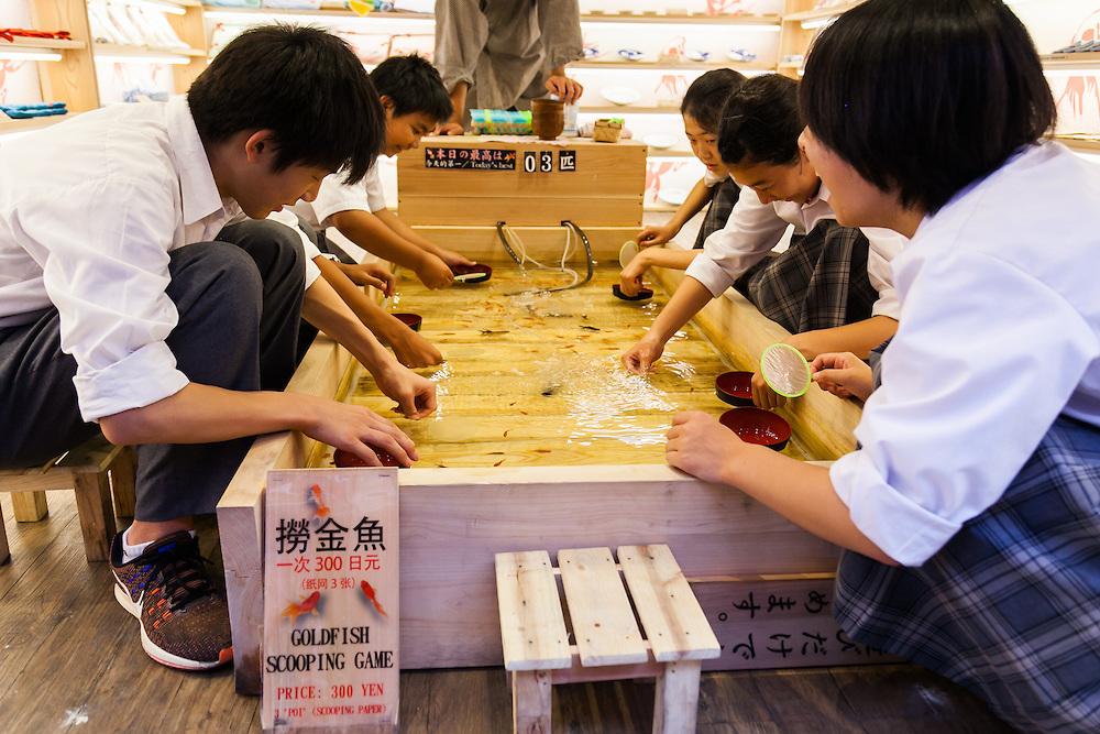 Goldfish scooping game in Asakusa