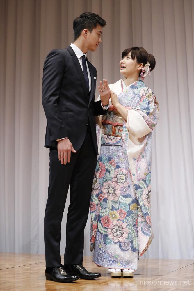 Japanese Table Tennis player Ai Fukuhara appears with Taiwanese Table Tennis player and husband Chiang Hung-chieh