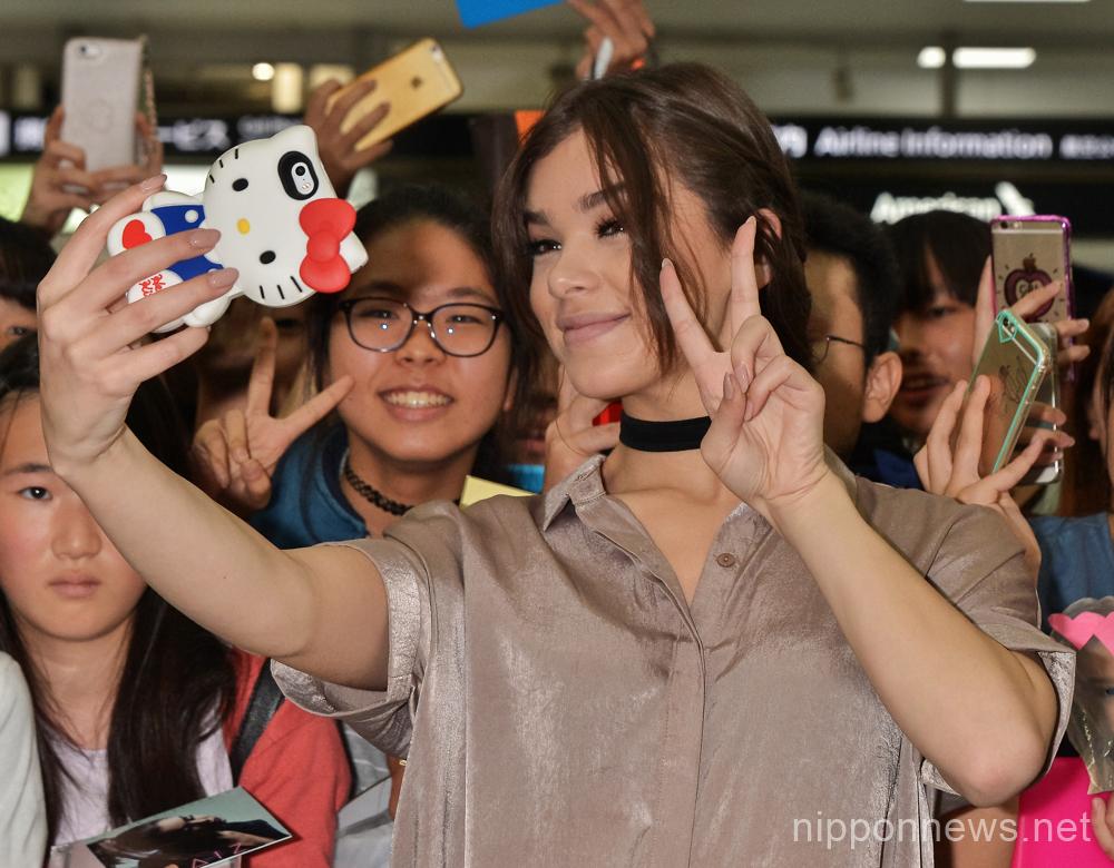 Hailee Steinfeld arrives at Narita International Airport in Japan
