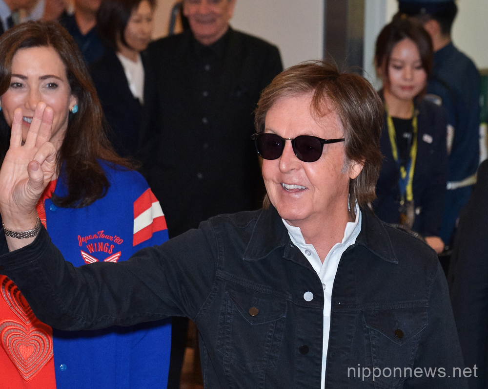 Paul McCartney arrives at Tokyo International Airport