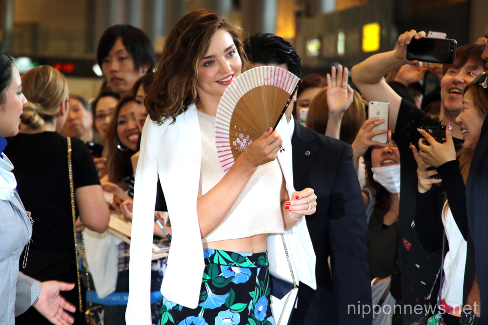 Miranda Kerr arrives at Narita International Airport