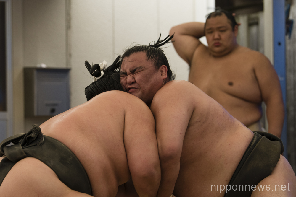 Sumo wrestlers practice at dojo prior to Nagoya Grand Sumo Tournament