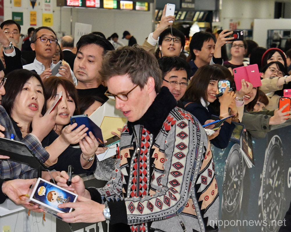 Actor Eddie Redmayne arrives in Japan