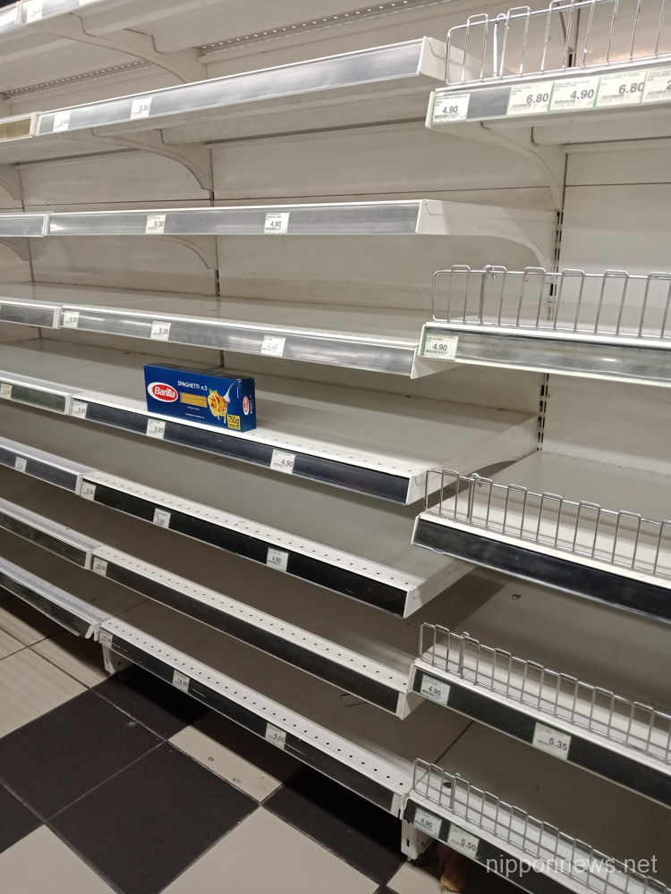 Empty shelves inside Penang supermarket