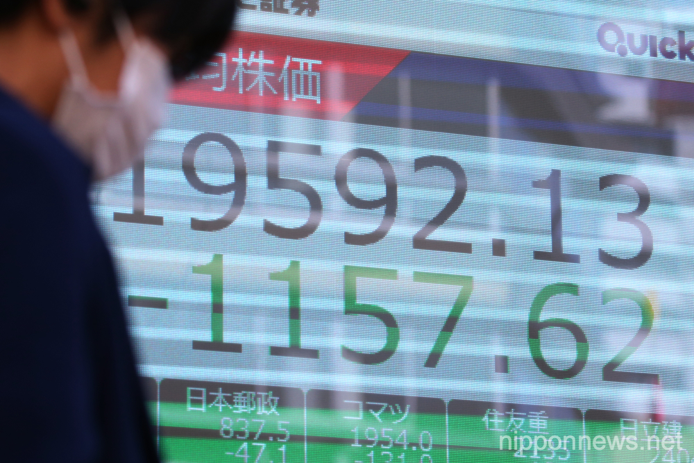 Tokyo stocks close down more than 5% on coronavirus fears